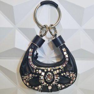 $2800 Vintage CHLOE Leather Crystals Bracelet Bag